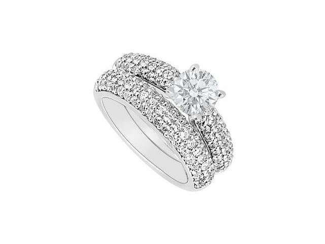 14K White Gold  Diamond Engagement Ring with Wedding Band Set 1.80 CT TDW