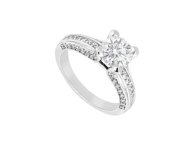 14K White Gold Cubic Zirconia 2 Carat Engagement Ring