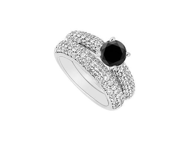 14K White Gold  Black and White Diamond Engagement Ring with Wedding Band Set 1.80 CT TDW