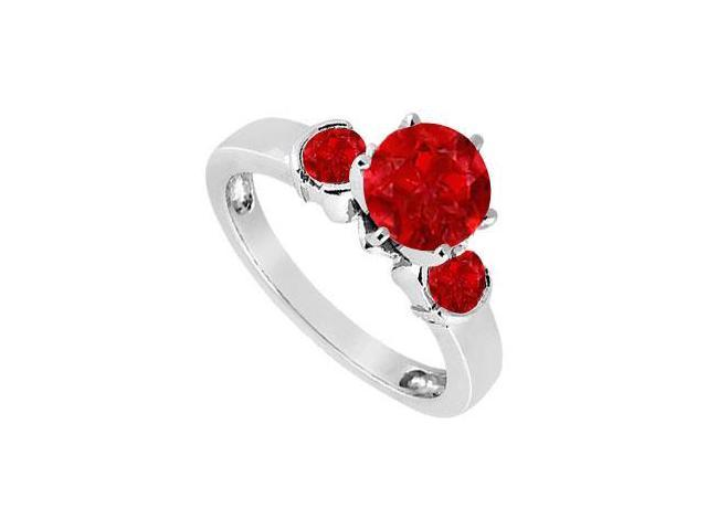 Created Ruby Three-Stone Ring in Sterling Silver 1.50 ct. t.w.