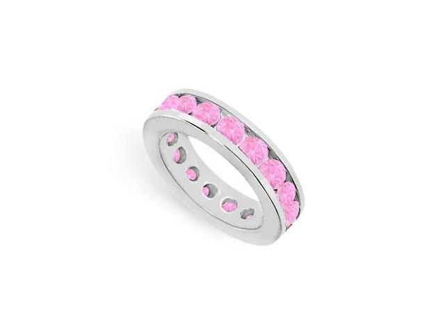 Created Pink Sapphire Eternity Rings 4ct Channel Set on 925 Sterling Silver