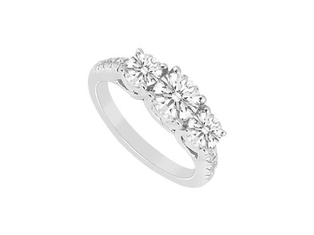 Polished 14K White Gold 1 Carat Engagement Ring of Cubic Zirconia
