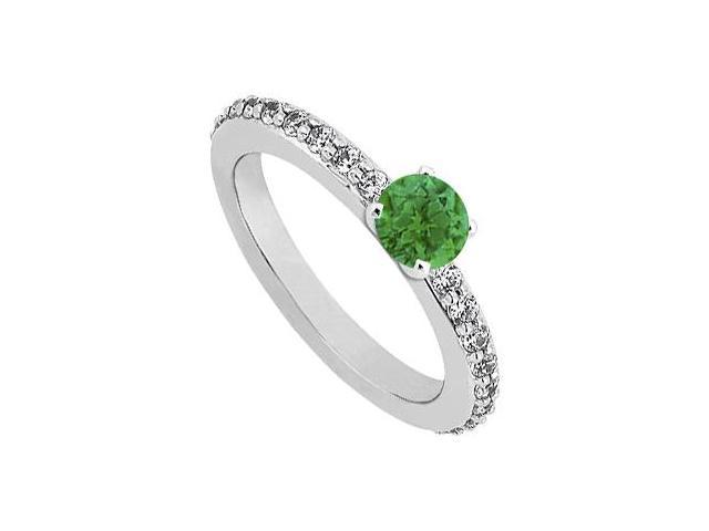May Birthstone Emerald and CZ Engagement Ring in Sterling Silver 0.75 CT TGW