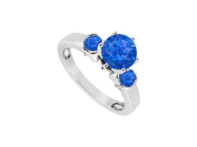 Created Sapphire Three-Stone Ring in Sterling Silver 1.50 ct. t.w.