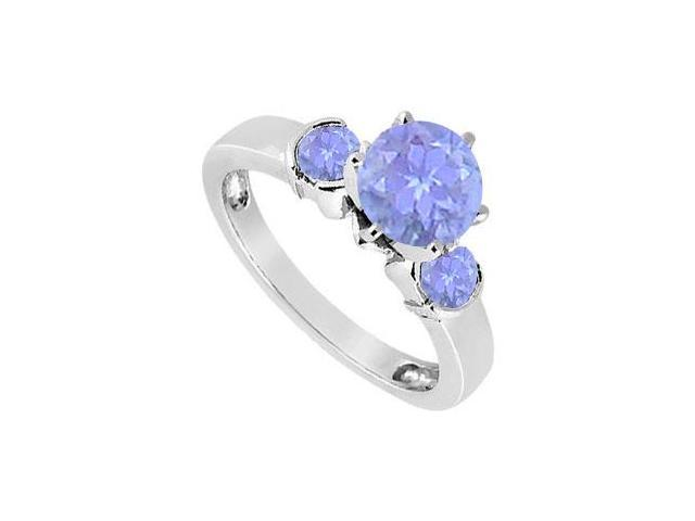 Created Tanzanite Three-Stone Ring in Sterling Silver 1.50 ct. t.w.