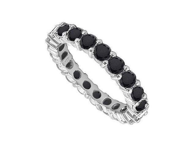 14K White Gold  Pure Black Natural Onyx Prong Set Eternity Band 7.00 CT TGW