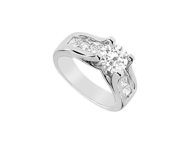 Engagement Ring in 14K White Gold Cubic Zirconia with 2.25 Carat TGW