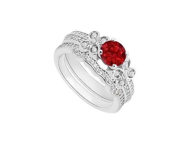 14K White Gold Diamond and Natural Ruby Engagement Ring with Diamond Bands Set 1.15 Carat TGW