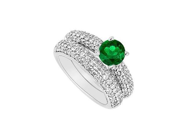 14K White Gold  Emerald and Diamond Engagement Ring with Wedding Band Set 1.80 CT TGW