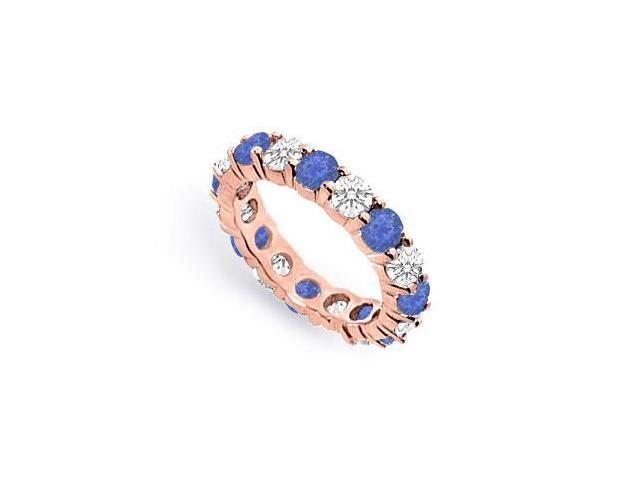 Created Sapphire Eternity Band with CZ Four Carat on 14K Rose Gold Vermeil