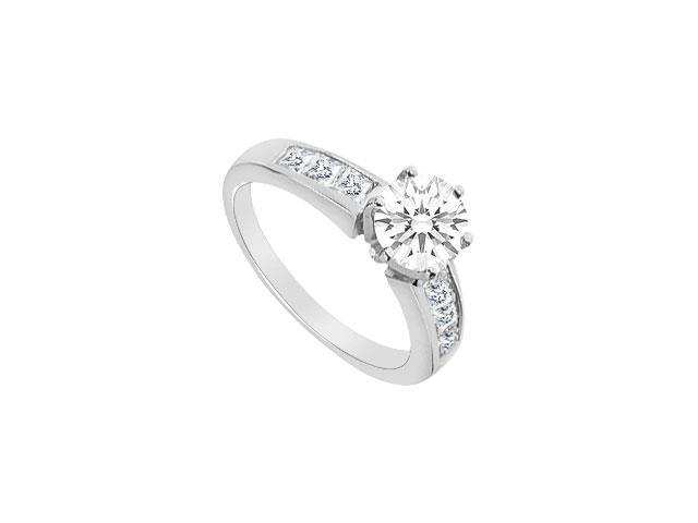 14K White Gold Princess Cut Cubic Zirconia Engagement Ring with 1.05 carat TGW