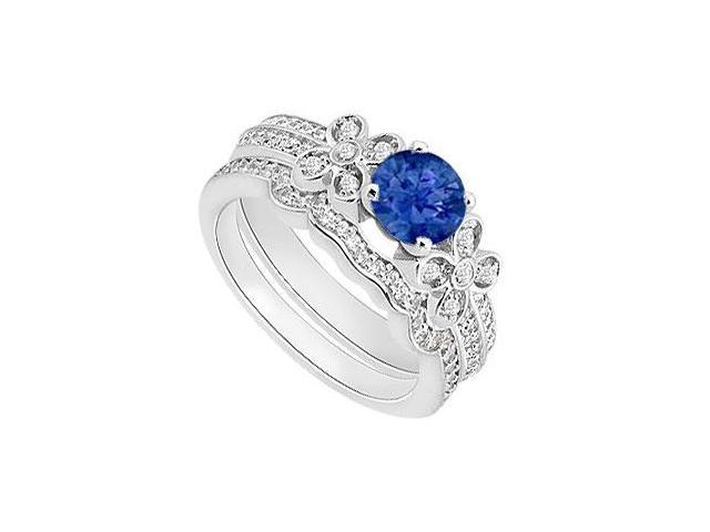 Natural Blue Sapphire Engagement Ring with Diamond Band Sets in 14K White Gol
