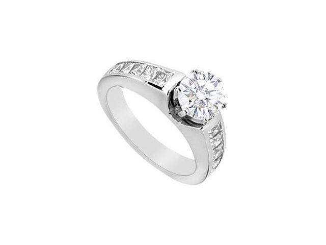 Engagement Ring Cubic Zirconia Princess Cut in 14K White Gold with 1.50 Carat TGW