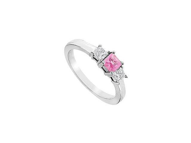 Created Pink Sapphire and Cubic Zirconia Ring in Sterling Silver 2.00.ct.tw