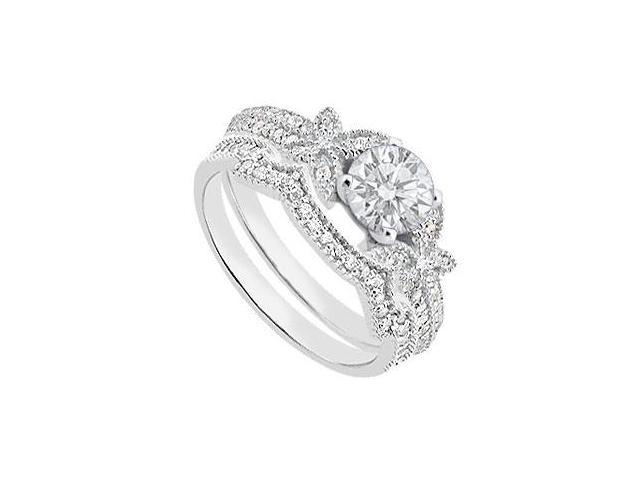 Diamond Engagement Ring Sets with Diamond Wedding Bands in 14K White Gold 0.85 Carat TGW
