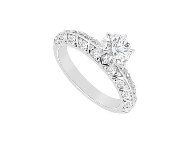 Cubic Zirconia Engagement Ring in 14K White Gold Total Gem Weight of 0.75 Carat