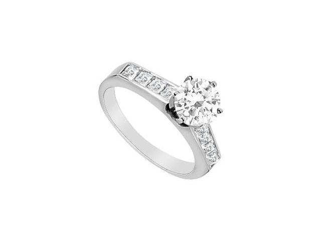 Channel Set Cubic Zirconia Engagement Ring in 14K White Gold 1.10 Carat TGW