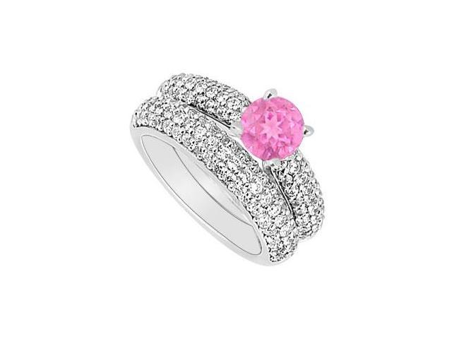 14K White Gold  Pink Sapphire and Diamond Engagement Ring with Wedding Band Set 1.80 CT TGW