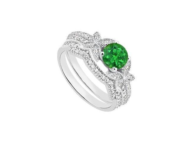 14K White Gold Diamond and Green Emerald Engagement Ring with Diamond Bands of 1.10 Carat TGW