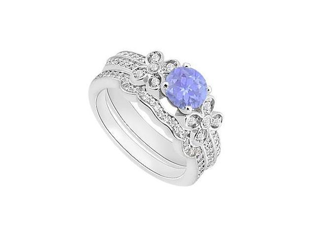 Tanzanite and Diamiond Engagement Rings with Wedding Band Sets in 14K White Gold 1.15 Carat TGW