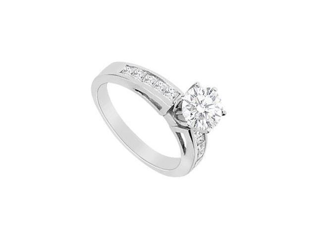 14K White Gold Round and Princess Cut Cubic Zirconia Engagement Ring with 1.00 Carat TGW
