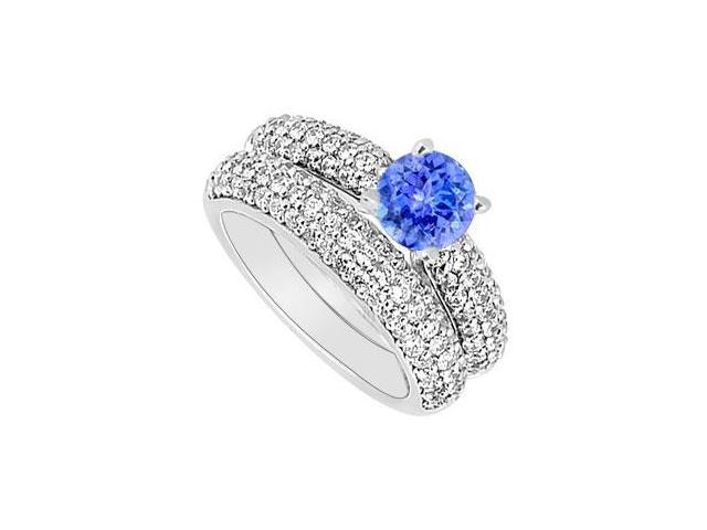 14K White Gold  Tanzanite and Diamond Engagement Ring with Wedding Band Set 1.80 CT TGW
