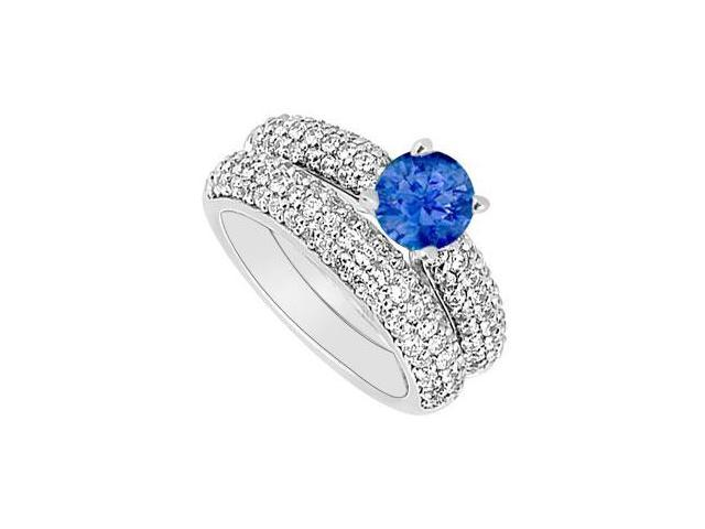 14K White Gold  Blue Sapphire and Diamond Engagement Ring with Wedding Band Set 1.80 CT TGW