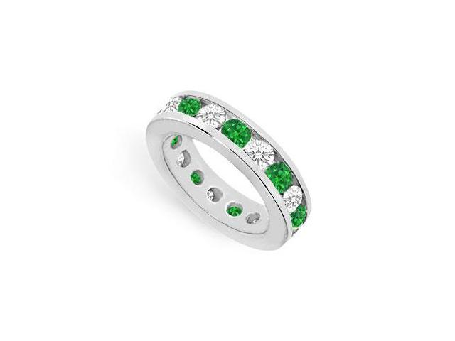 Nine Carat Emerald Created and CZ Eternity Ring in 925 Sterling Silver Channel Set