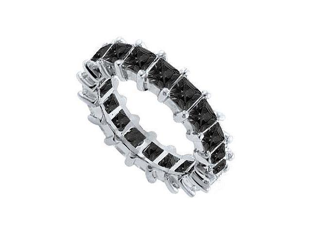 14K White Gold  Pure Black Natural Onyx Prong Set Eternity Band 5.00 CT TGW