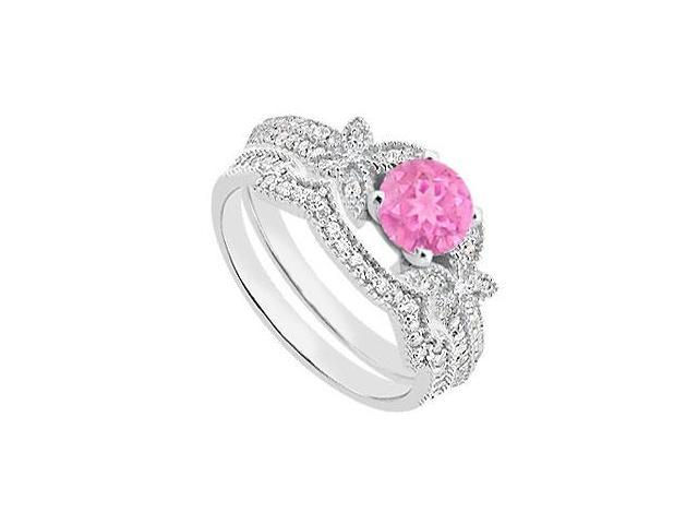 Pink SapphireEngagement Rings with Diamond Wedding Bands in 14K White Gold 1.10 Carat TGW