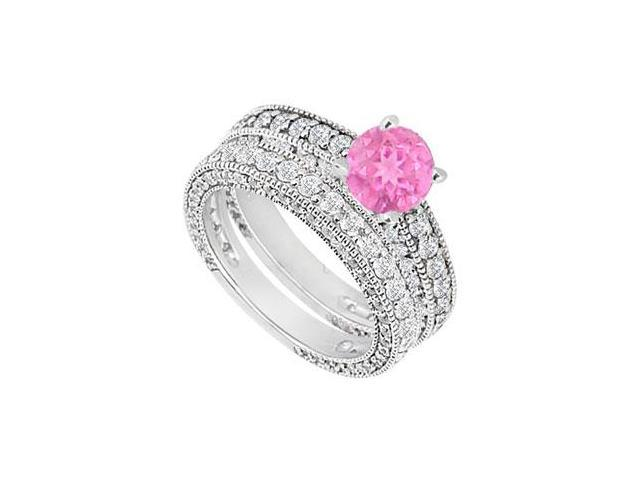 14K White Gold Pink Sapphire  Diamond Engagement Ring with Wedding Band Sets 2.50 CT TGW