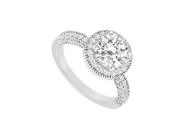 Halo Engagement Ring with Cubic Zirconia in 14K White Gold 1.25 Carat Total Gem Weight