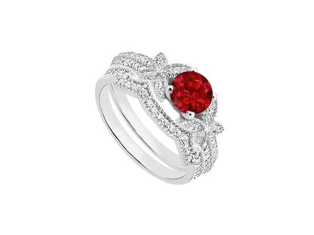 Natural Ruby and Diamiond Engagement Rings with Wedding Band in 14K White Gold 1.10 Carat TGW