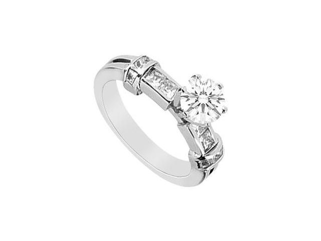 Princess Cut and Round Cubic Zirconia Engagement Ring in 14K White Gold 1.00 Carat TGW