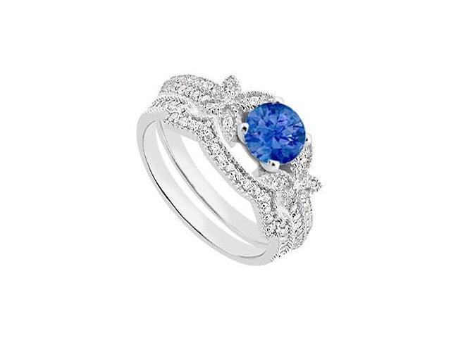 Diamond and Blue Sapphire Engagement Ring with Diamond Bands in 14K White Gold 1.10 Carat TGW