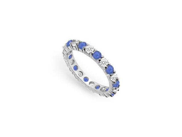 Two Carat Created Sapphire and CZ Eternity Band in 925 Sterling Silver