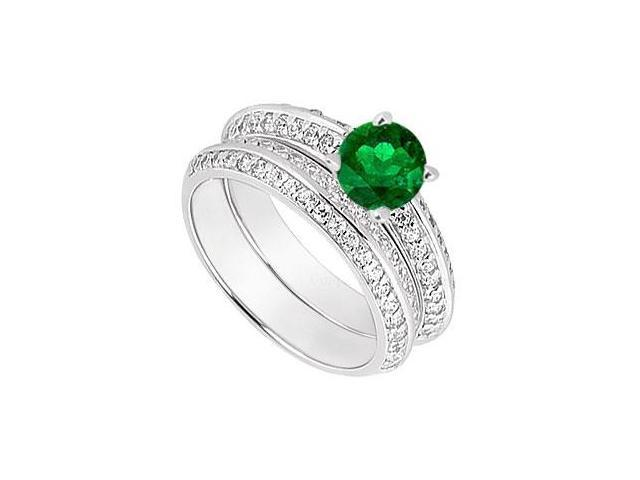 14K White Gold Emerald  Diamond Engagement Ring with Wedding Band Sets 1.00 CT TGW