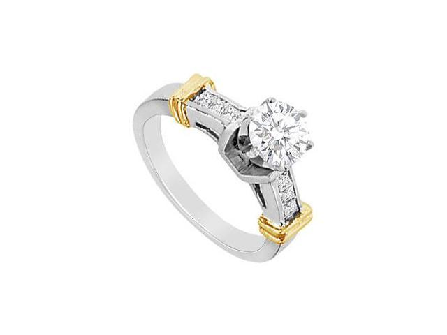 Round and Princess Cut Cubic Zirconia Engagement Ring in 14K Two Tone gold 1.00 CT TGW