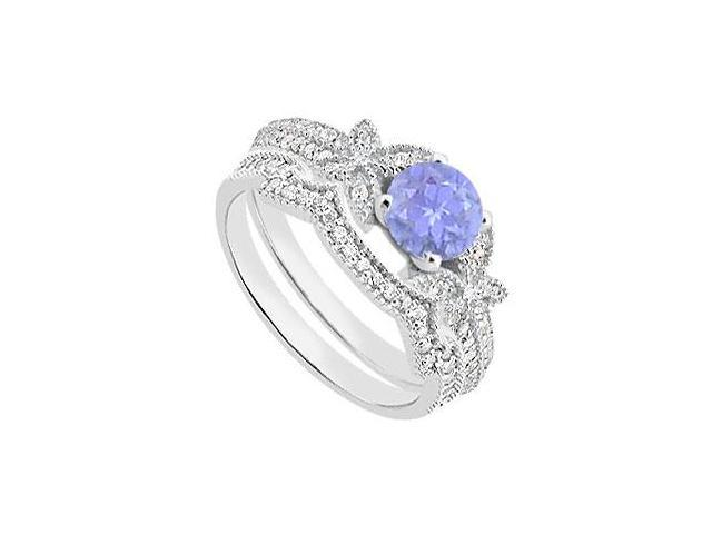Diamond and Tanzanite Engagement Ring with Wedding Band Sets in 14K White Gold 1.10 Carat TGW