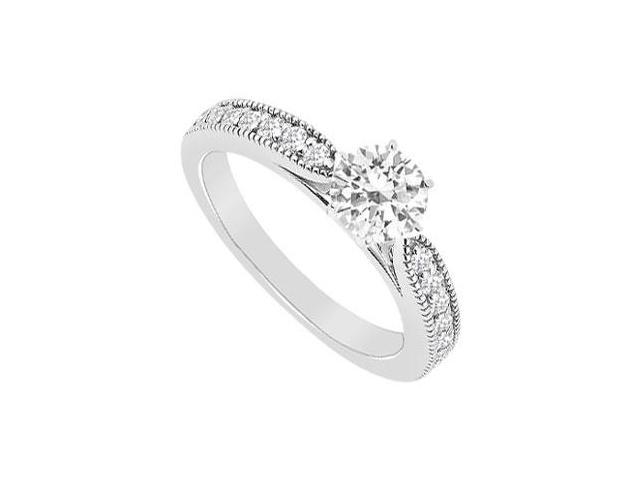 Engagement Ring in 14K White Gold with Cubic Zirconia of 0.75 Carat Total Gem Weight
