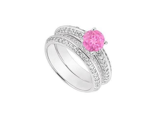 14K White Gold Pink Sapphire  Diamond Engagement Ring with Wedding Band Sets 1.00 CT TGW