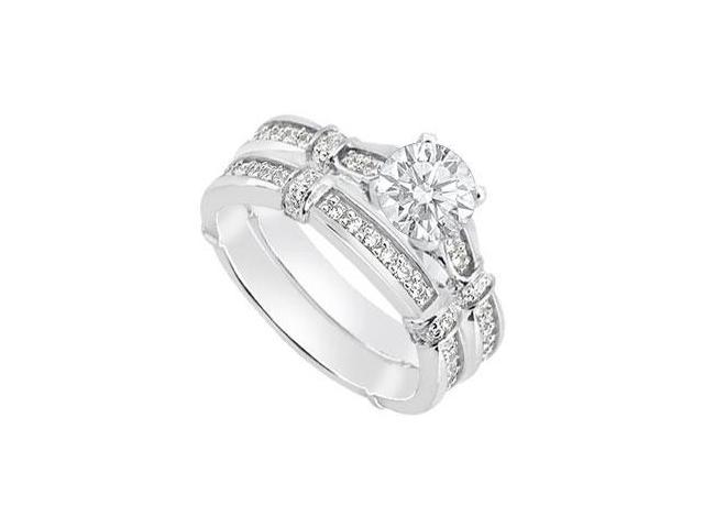 14K White Gold Diamond Wedding Engagement Ring Sets of 0.70 Carat Diamonds