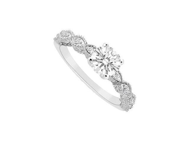 Engagement Ring of Cubic Zirconia in Polished 14K White Gold 0.75 Carat Total Gem Weight