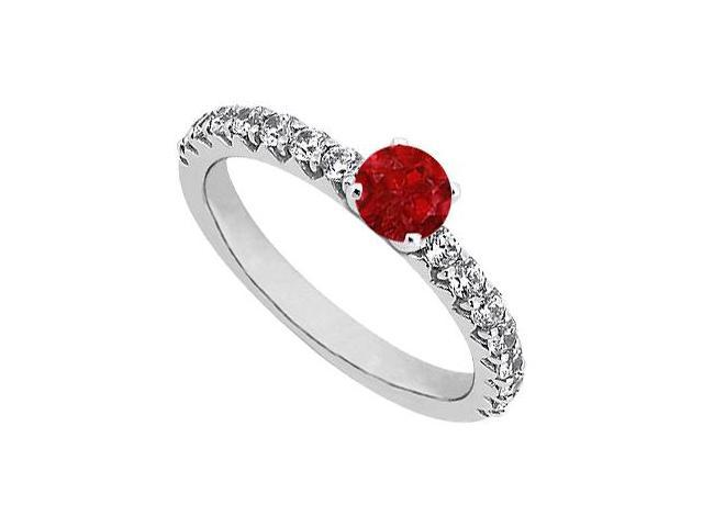 July Birthstone Ruby and CZ Engagement Rings in Sterling Silver 1.00 CT TGW