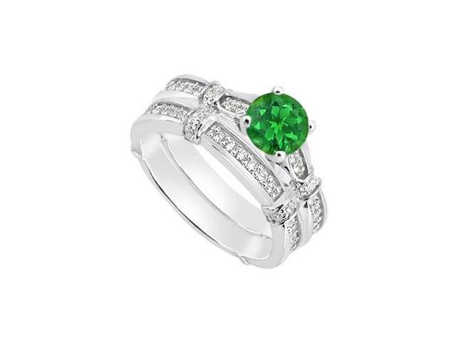 Natural Emerald Engagement Ring with Diamond Wedding bands in 14K White Gold 0.95 Carat TGW