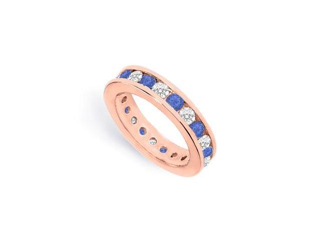 CZ Eternity Bands with Sapphire Created Two Carat in 14K Rose Gold Vermeil Channel Set