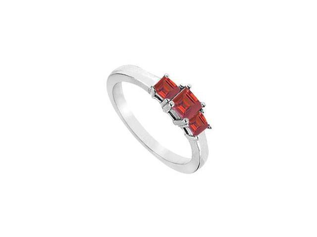Created Ruby Three-Stone Ring in Sterling Silver 2.00 ct. t.w.