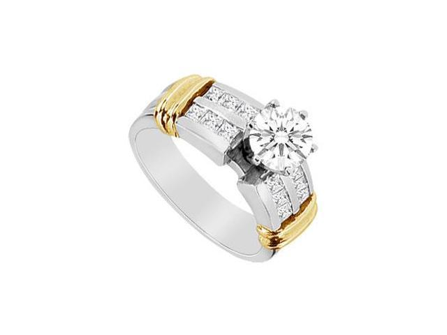 Cubic Zirconia Engagement Ring in 14K Two Tone White and Yellow Gold 1.10 CT TGW