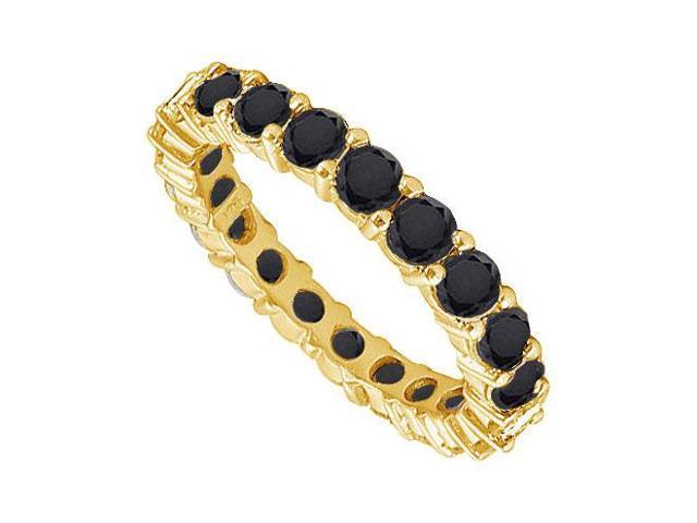 14K Yellow Gold  Pure Black Natural Onyx Prong Set Eternity Band 3.00 CT TGW