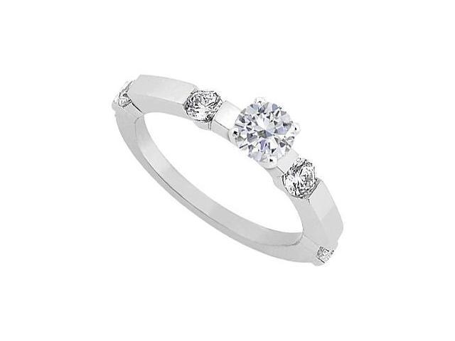 April Birthstone Cubic Zirconia Engagement Ring in Sterling Silver 0.90 CT TGW